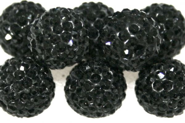 10mm Black 115 Stone  Pave Crystal Beads- 2 Hole PCB10-115-005